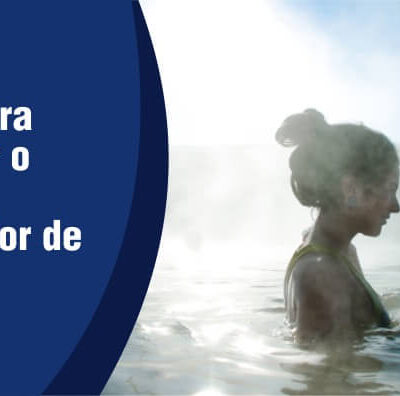 lado esquerdo da imagem escrito dicas para escolher o melhor aquecedor de piscina, na outra metade da imagem mostra uma mulher em uma piscina aquecida